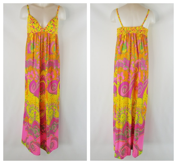 Vintage 60s Funky Psychedelic Day Glo Hawaiian Max