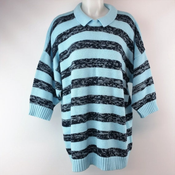 Vintage 80s-90s Venezia Oversize Turquoise & Blac… - image 1
