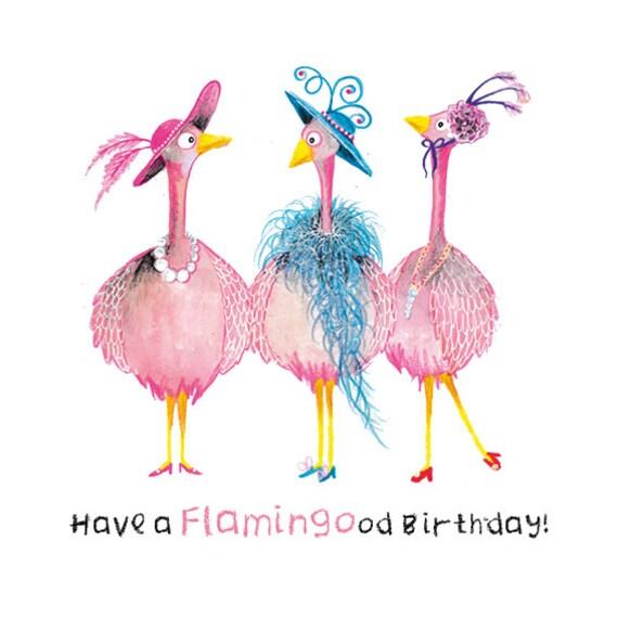 Happy Birthday Digital Flamingo Card