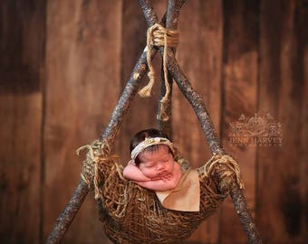 Woodsy Wonders Nesting Pod, Log Hammock, Rustic TeePee, Newborn Photography Prop, newborn photo prop, Baby Prop, Log prop, Rustic Prop, Baby