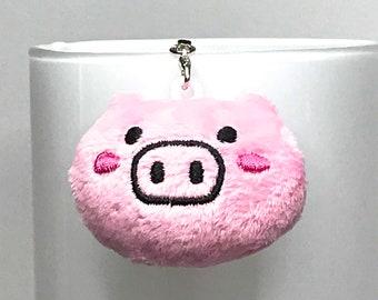3e5064054 KAWAII PIG KEY chain key fob bag charm metal key ring cute quirky piggy  gift for her fake fur retro cute key chain