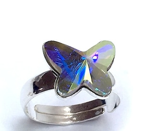 4821a430b SWAROVSKI butterfly ring. AB crystal 925 stamped sterling silver adjustable  12mm crystal butterfly gift for her one of akind