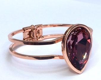 ROSE GOLD Swarovski BRACELET antique pink Swarovski fancy stone 30X20mm stone bangle cuff art nouveau art deco gift for her