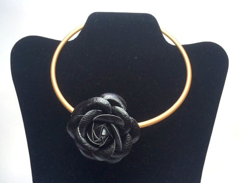 BLACK LEATHER CHOKER rose P U leather and real leather gold choker torque irish style gift for her elegant art nouveau adjustable