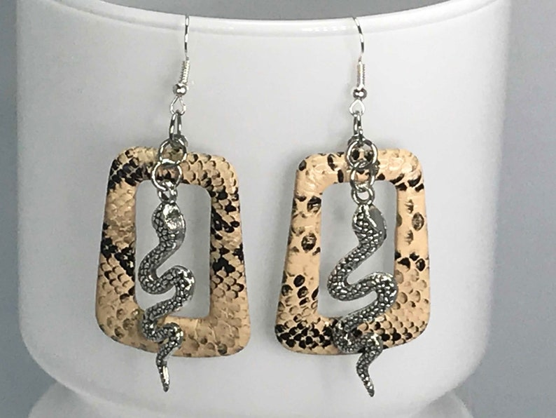 SNAKESKIN EARRINGS snake faux snakeskin cool earrings seventies cute quirky gift for her retro funky earrings vintage look statement