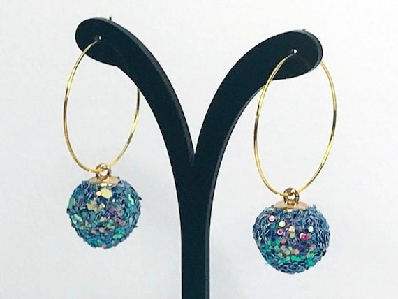 GLITTER CIRCLE EARRINGS disco hoop earrings laser cut acrylic cool earrings quirky earrings gift for her kawaii cute earrings seventies