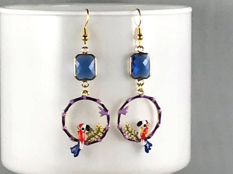 BLUE BIRD EARRINGS crystal hoop