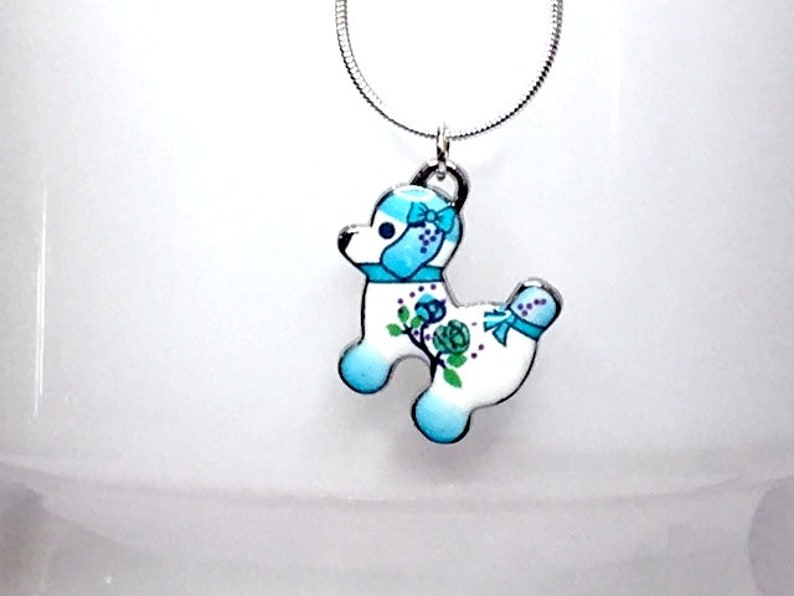 ENAMEL PUPPY PENDANT dog Japanese style Kawaii blue flowers 925 stamped sterling silver plate chain kawaii cute pendant quirky gift for her
