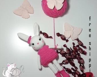 Amigurumi cute bunny girl crochet toy