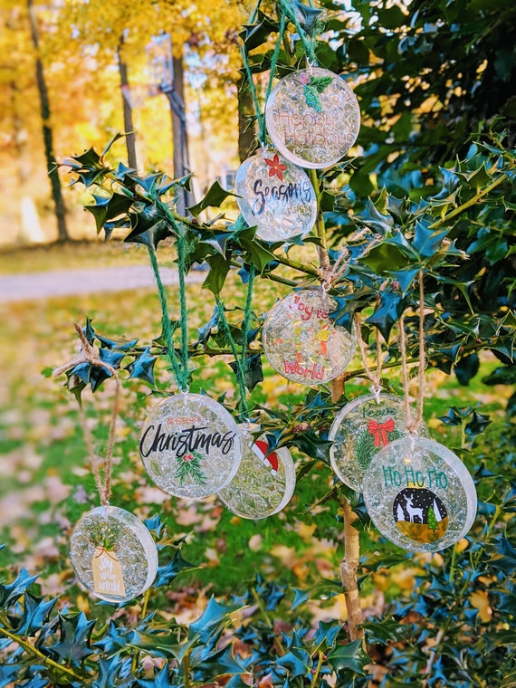 Resin Christmas Ornaments.Resin Clear Round Christmas Ornaments Set Handmade Holiday Decor Christmas Decor Tree Ornament Christmas Gifts Winter Decorations