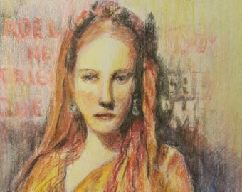 "Original Colored Pencil ""Young Lady"""