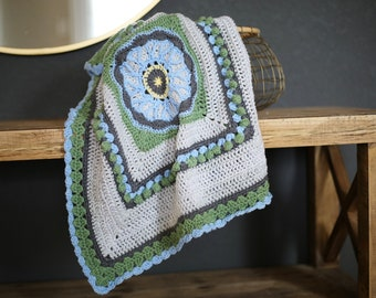 Crochet Baby Blanket Blue Flower in tan green and blue No.045