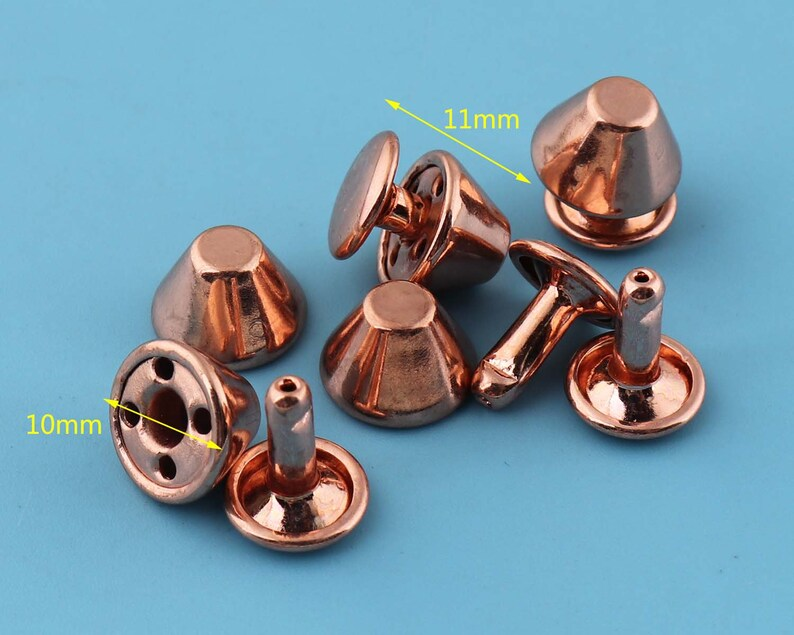 50sets 10*11mm double cap studs Rivet with rose gold,Metal Plated Button for Leather decoration.