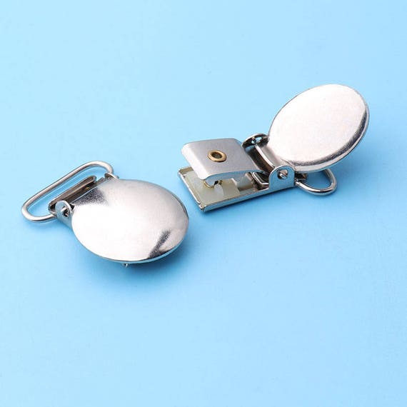 6pcs 78 Wide  Strap suspender clips round faced Silver Round Suspender  Pacifier Clips-35*22mm jz11