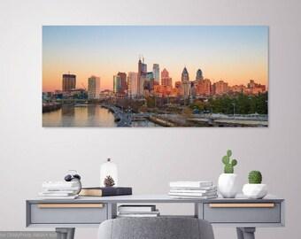 Philadelphia Skyline Sunset Fine Art Print (Gallery Wrapped Canvas) LIMITED EDITION