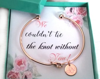 SALE 15% Love Knot Bangle Love Knot Bracelet Tie The Knot Love Knot Tie the knot BRACELET Rose Gold or Silver or Gold Bridesmaid