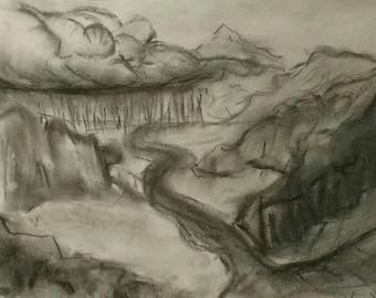 "Charcoal original sketch- ""A Colorado Storm"" -charcoal drawing- original drawing"