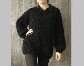 Women's black mohair sweater   Oversized pullover   Longhair mohair jumper