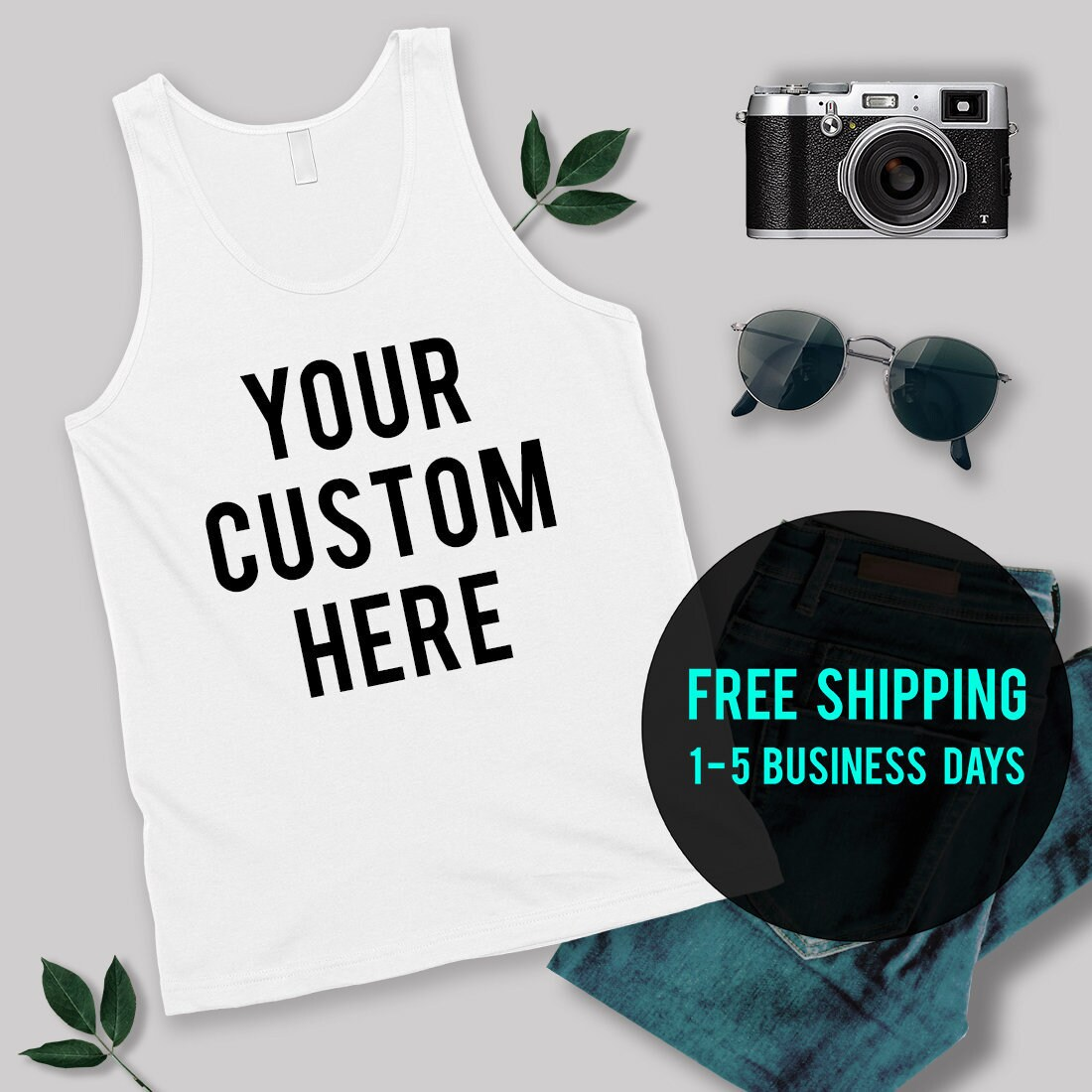1c35348ec3eb74 M E N S Custom Tank Tops Personalized Shirts Your Text
