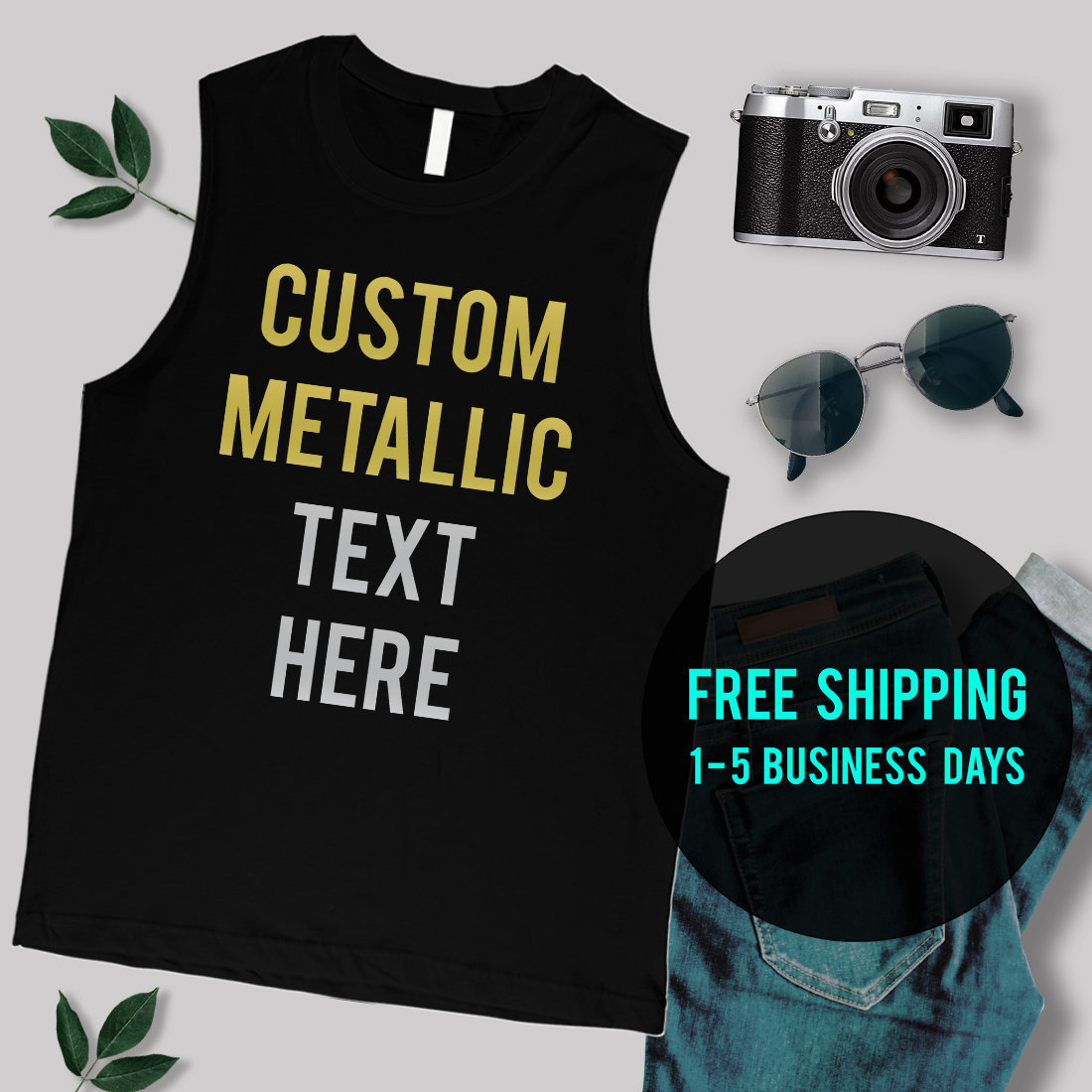 419b3008cd641c M E N S METALLIC Gold Silver Font Custom Muscle Tank Top