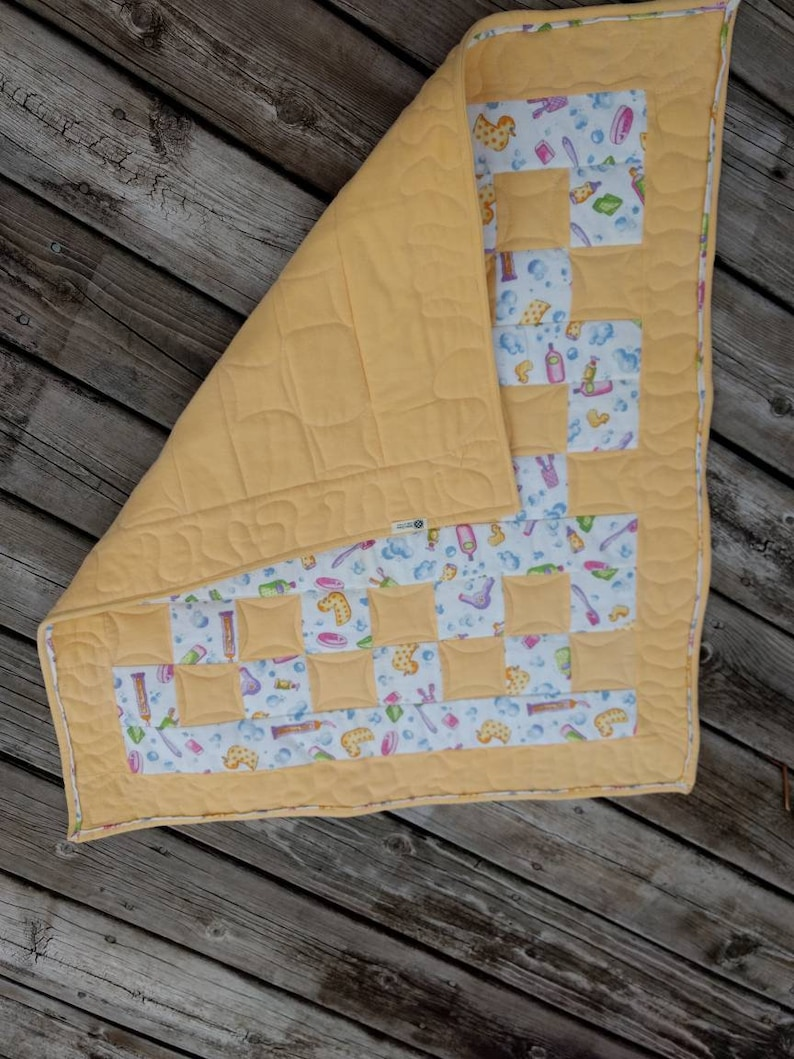 baby shower present Baby quilt yellow rubber ducky