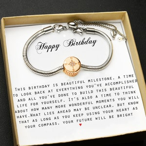 50TH Compass bracelet,gift for your best friend,sister,niece cousin,16 birthday,20 birthday,25 birthday,30th birthday,40