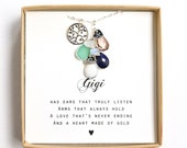 GiGi Necklace,gigi Gift,gigi Necklace, gigi Jewelry,mother 39 s day Gift for Grandma,birthstone bracelet ,birthstone necklace, custom initial