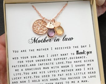 Mother In Law Giftmother Day Gift Wedding Necklace Birthday Giftbirthstone