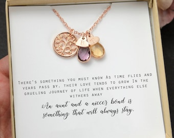 Aunt Niece Necklace Gift Jewelry Quotes Birthstone NecklaceMOTHERS DAY GIFT