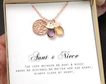 Aunt-Niece Necklace Aunt-Niece Gift Aunt-Niece Jewelry Aunt-Niece Quotes Aunt Necklace  birthstone necklace nephew niece birthday GIFTs