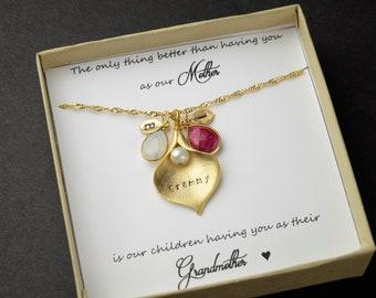 Grammy Grandma Gift  Gifts for Grandma Birthstone Charm Necklace  Grandmother Gift Grandmother Necklace Grandma Gift from Grandchildren
