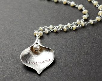 Grandmother Gift Grandmother Necklace Grandma Gift from Grandchildren Grammy Grandma Gift  Gifts for Grandma Birthstone Charm Necklace