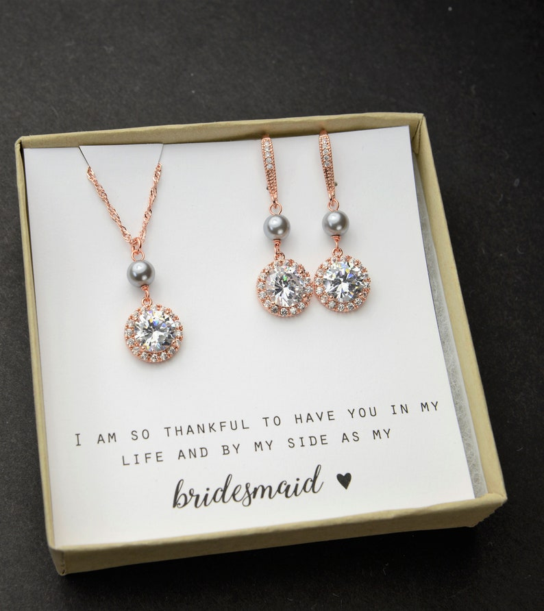 Custom Personalized Pearl necklace CZ bridesmaid gift set  bridesmaid bracelet earrings necklace Wedding gift set  Bridesmaid earrings gray