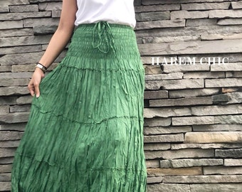 0bc71e052feb8 Cotton Maxi Skirt   Elastic Smocked Waist   Boho Skirt   Long Skirts for  Women   Long Hippie Skirt   Bohemian Skirt   Green