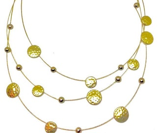 Gold Disc Multi Strand Necklace