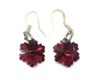 Red Star Burst Earrings