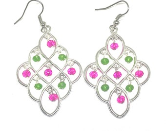 Pink and Green Chandelier Earrings
