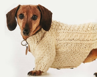 Aran Cardigan for Small Dogs, Knitting Pattern
