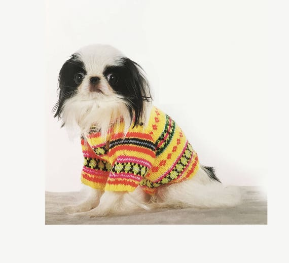 Colorful Dog Sweater All Sizes Knitting Pattern Etsy
