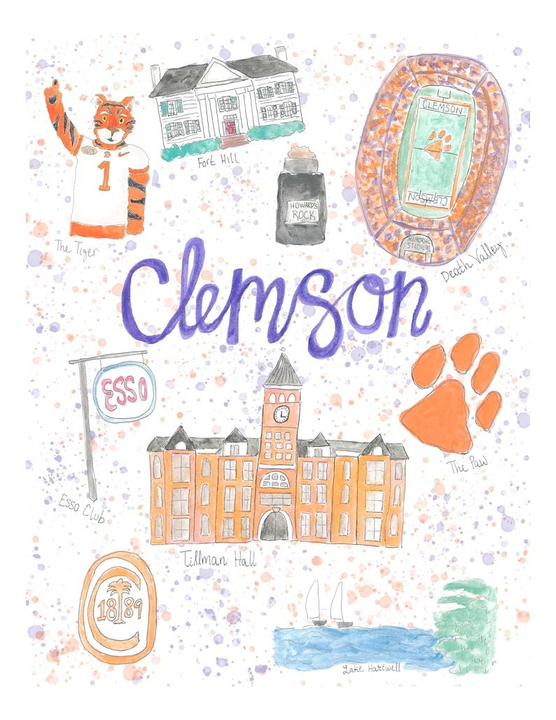 Clemson University SC Map Landmark Print Illustrated | Etsy