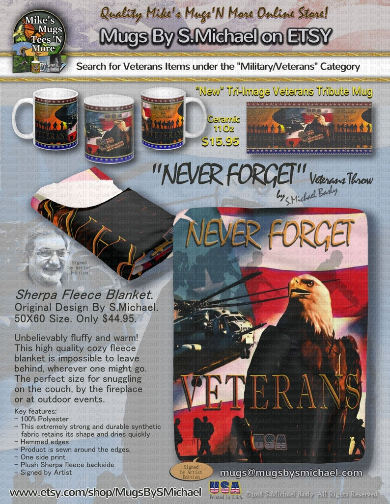 Design By S.Michael Printed in U.S.A Only 44.95 Shipping. Eagle Blanket Veterans  NEVER FORGET Sherpa Fleece 50X60 Size