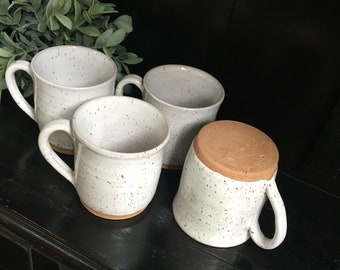 Speckled white stoneware coffee mugs/ handmade pottery/ 12 ounce mugs/ TN pottery/coffee cups/ Colonial Collections Stoneware/ white dishes