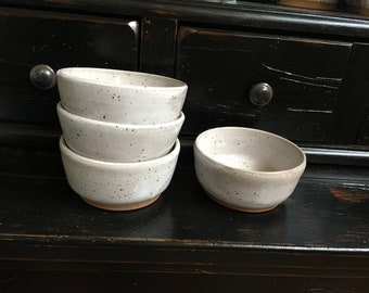 Speckled white stoneware desert bowls/ snack bowls/ handmade pottery/ Colonial Collections Stoneware/ white dishes/ ceramic bowls/TN pottery