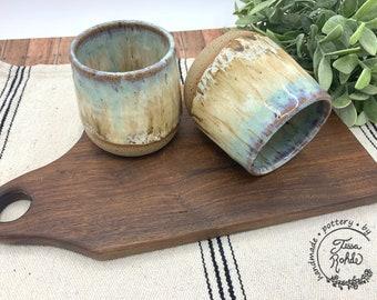 Wine tumblers/ handmade stoneware cups/ Sea Stone pottery/ CCStoneware/ functional pottery/ speckled stoneware/ kitchen decor