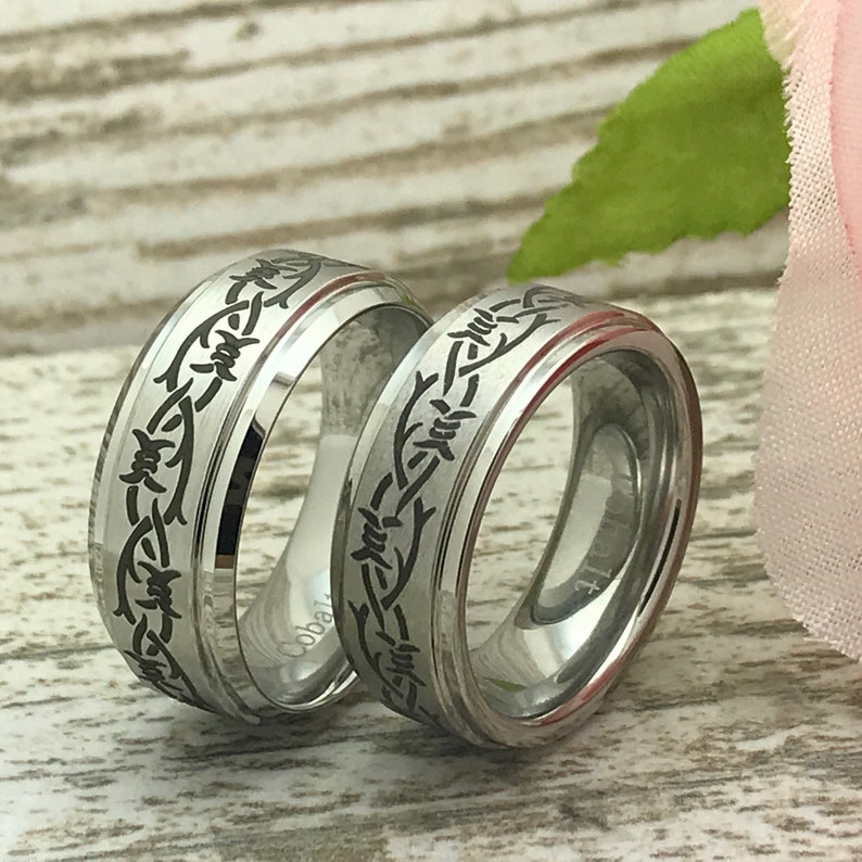 9mm Cobalt Wedding Rings Anniversary Rings SHJTCO058 Gift for Her Gift for Him Personalize Cobalt  Rings with laser Barb Wire Design