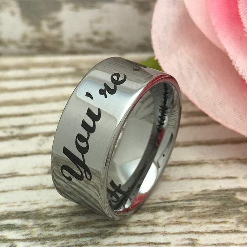 Comfort Fit 9mm Tungsten Ring Flat Ring Gift for Him Personalize Engraved Tungsten Ring Anniversary Ring