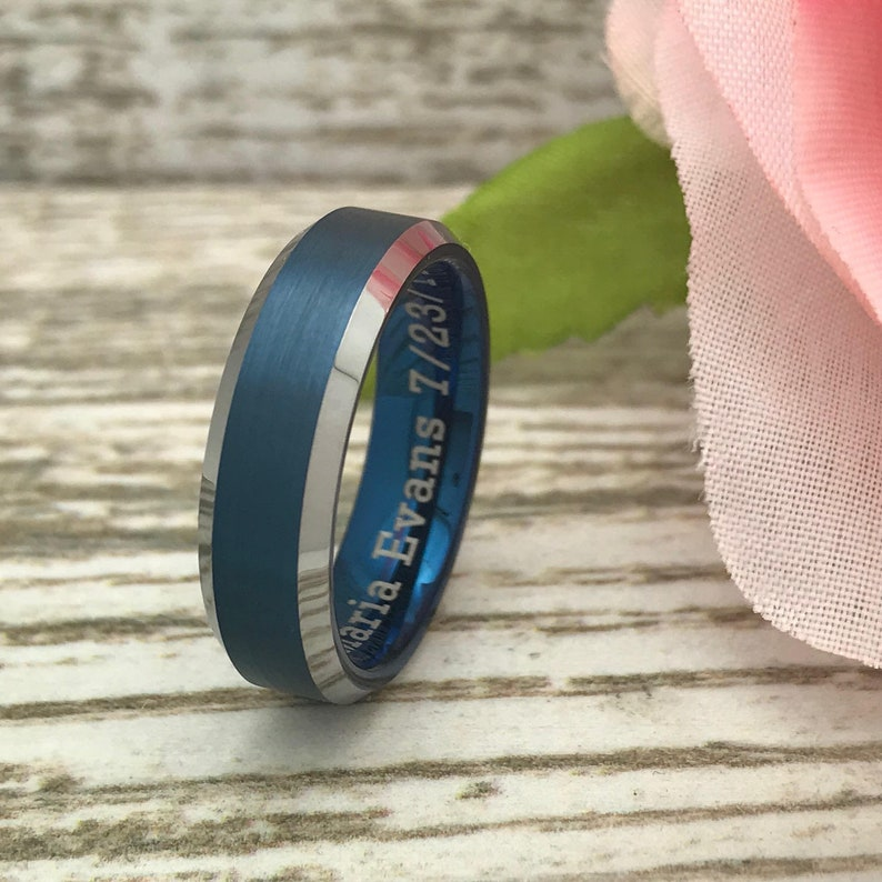 Personalize Two Tone Tungsten Ring 6mm Tungsten Ring Anniversary Ring Gift for Him Tungsten Wedding Ring Gift for Her