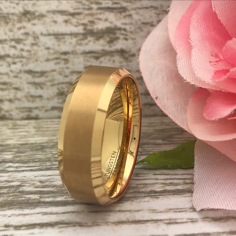 Men/'s Gold IP Plated Tungsten Wedding Ring Personalize Tungsten Ring 8mm Tungsten Ring Gift For Her Gift for Him Anniversary Ring