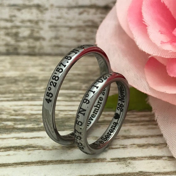 Comfort Fit SHJTCR168 Personalize Rose Gold IP Plated Ring Name Ring Anniversary Rings Classic Dome 7mm Tungsten Ring