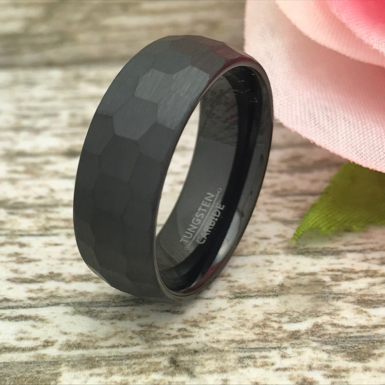 Anniversary Rings SHJTCR582 Comfort Fit Hammered Brushed Finish Wedding Ring 8mm Black Tungsten Ring Personalized Tungsten Rings